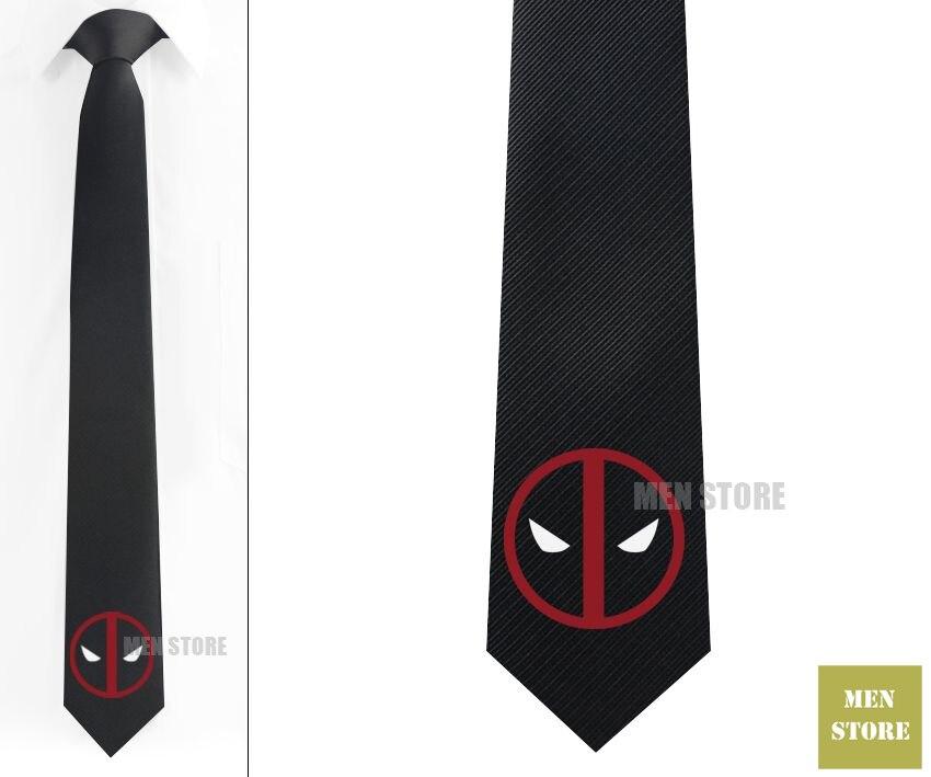 Deadpool Symbol Men Jacquard Woven Skinny Slim Narrow 2.3