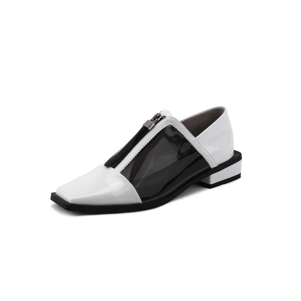 Cuero De Grueso blanco Bombas Genuino Popular La4 Tacón Básicos Retro Dedo Chicas Pvc Mujer Bajo Jóvenes Cuadrado Del Marca Clubwear Zapatos Negro Pie Jalea wqg8OqY05x