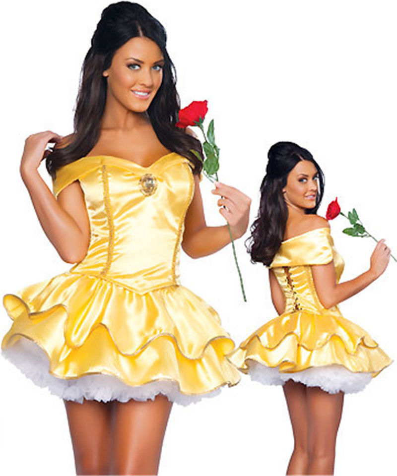 s xxl adult sexy maid costume golden princess halloween costume dress with white petticoat - Halloween Petticoat