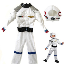 Halloween Children Boys Spacesuit women astronaut costume men space suit white yellow clothes teenager clothing masquerade