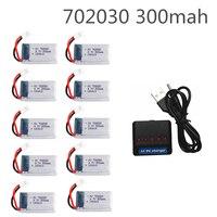 10 Uds 3,7 V 300mAh batería de lipo con cargador para Syma X11 E55 FQ777 FQ17W F180 FY530 U816 U816A U830 X100 H107 S39-1 HD-1306