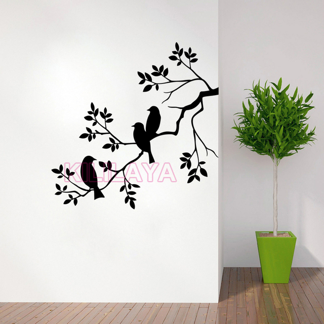 nature birds and branch vinyl wall sticker wall decal removable wall