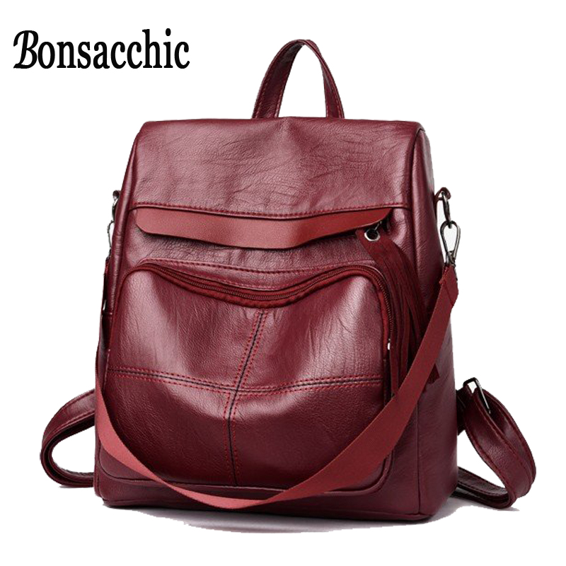 Bonsacchic Soft Pu Leather Bags Women Backpack Black Red School Backpack for Girls Backpack Ladies Bag Back Pack Mochilas Mujer