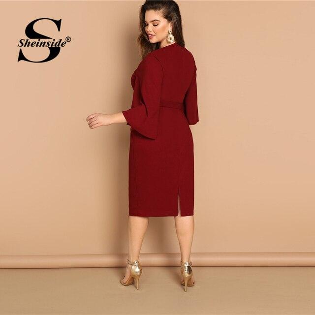Sheinside Plus Size Flutter Sleeve Tie Waist Women Bodycon Dress Elegant Solid Long Womens Dresses Burgundy Ladies Pencil Dress 1