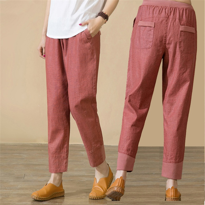 woman Casual Loose Vintage Cotton Linen Harem   Pants   Trousers Women Elastic High Waist   Wide     Leg     Pants   Pantalones Mujer