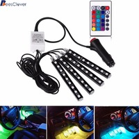 Beesclover 4pcs Car RGB LED Strip Light LED Strip Lights 16Colors Car Styling Decorative Atmosphere Lamps