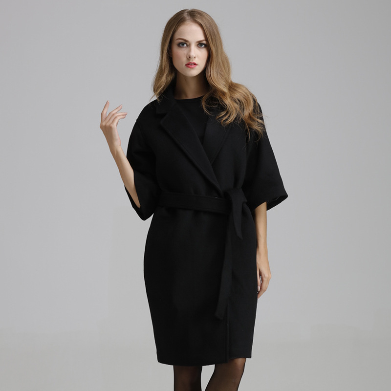 Black Women Jacket Coat Cashmere Woolen Bealted Coat Female Double Breasted Half Sleeve Long Outwear Elegant Fashion Manteau