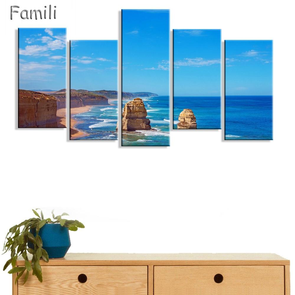 Unframed 5 Pcs Print Canvas Painting Twelve Apostles Australia Wall Art Picture Bar Cafe Home Decoration