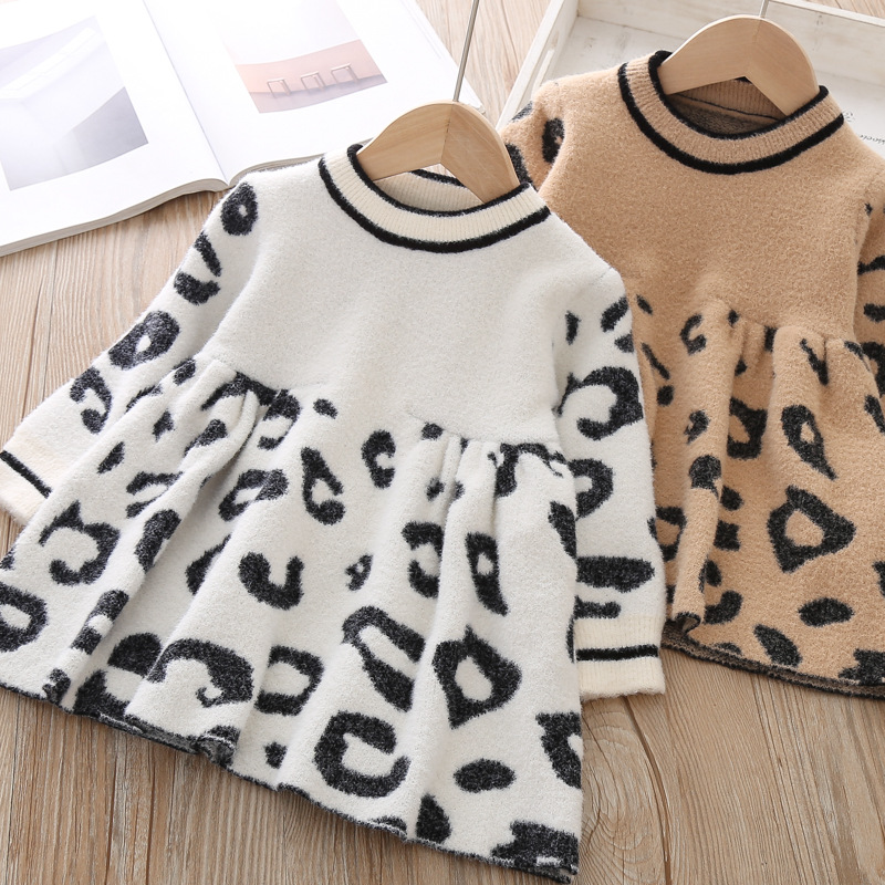 Image 3 - Toddler Sweater Dress 2019 Kids Sweaters Winter Leopard Crystal Children Sweater Dress Toddler Dresses Sweater For Kids-in Dresses from Mother & Kids