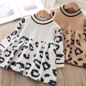 Image 3 - Toddler Sweater Dress 2019 Kids Sweaters Winter Leopard Crystal Children Sweater Dress Toddler Dresses Sweater For Kids