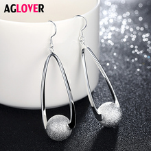 New Fashion Frosted Sphere Earrings Original 925 Silver Jewelry For Women Lady Gift Free Shipping