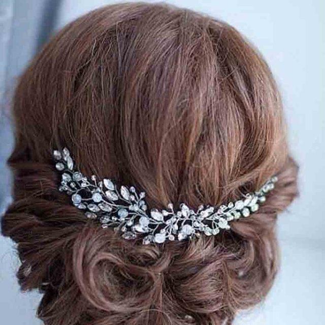 KMVEXO Fashion Leaves Silver bridal hair accessories Handmade Crystal Hair Jewel