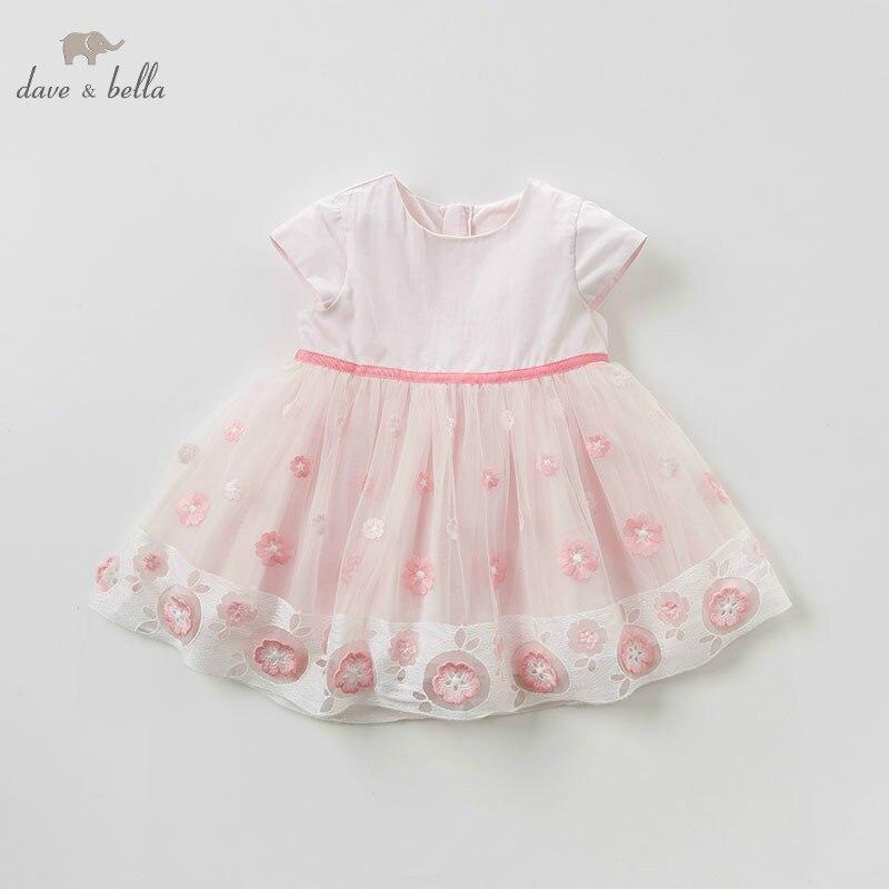 DB10504 dave bella summer baby girl lolita floral clothes children birthday party wedding dress with flower