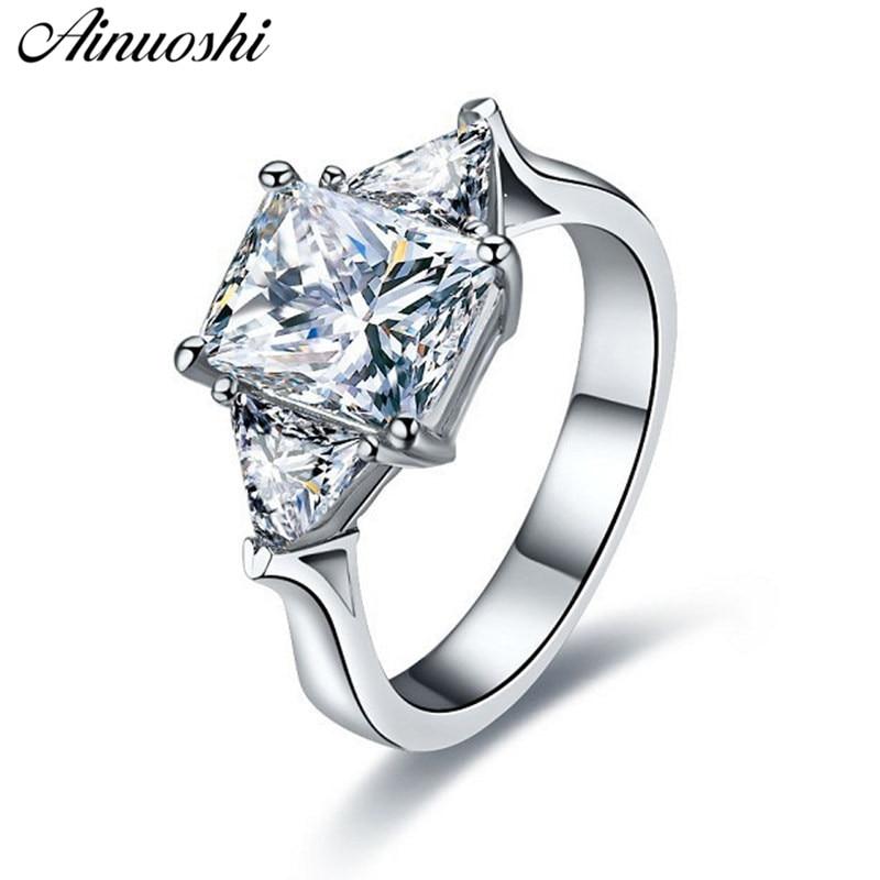 Slatki 3-kvadratni oblik četvrtastog prstena, zaručnički prsten, originalan, 925, srebrni, srebrni, žene, vjenčani prsten, nakit