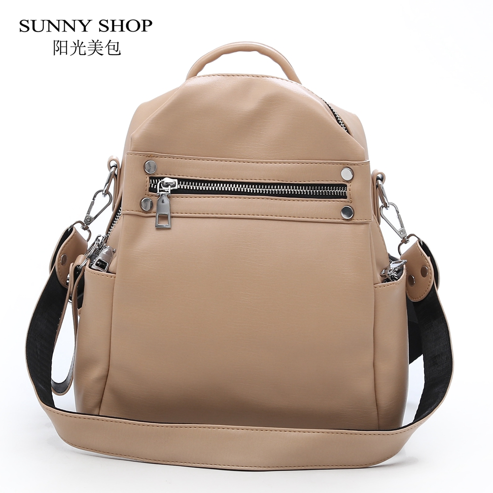 SUNNY SHOP Vintage Simple Soft Leather Backpack Female Small Fashion Back Pack School Bagpack Solid Zip White Brand Designer