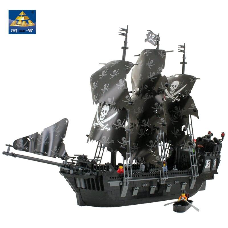 KAZI 87010 1184 PCs New Pirates of the Caribbean Black Pearl Ship Large Model Christmas Gift