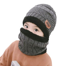 Children Knitted Hat Winter Warm Baby Kids Cap Skullies Beanies Circle Scarf Thicken Fleece Lining For 2-12 Years Boys Girls
