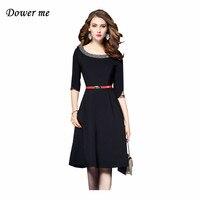 Fashion Slim Little Black Women A Line Dress Vestidos Elegant Beasding Ladies Party Dresses Charming Office