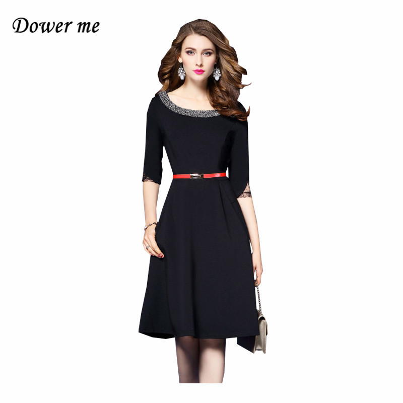 Fashion Slim Little Black Women A-line Dress Vestidos Elegant Beasding Ladies Party Dresses Charming Office Frocks YN2561