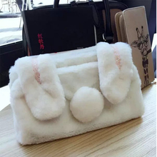 Brand New Fashion Frauen Handtasche mit Bunny Ohren und Schwanz Winter Plüsch Handtasche Freies Verschiffen