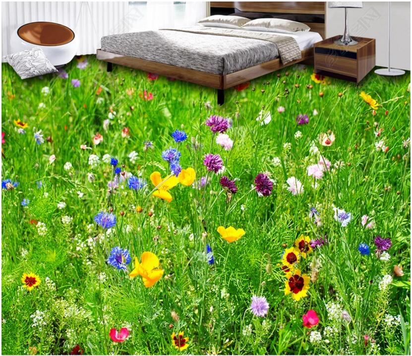 Custom photo 3d flooring mural self - adhesion wall sticker Flowers grass Home decoration 3d wall murals wallpaper for walls 3 d 3d wallpaper custom photo non woven picture evening lavender flowers 3d wall murals wallpaper for wall room decoration painting