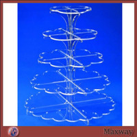 5 tier laser cutting acrylic flower shaped cupcake stand baby shower baby party display