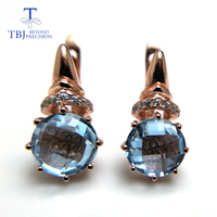 TBJ,2018 new Natural Sky blue topaz checkerboard cutting round 8mm 4.6 gemstone clasp earring 925 sterling silver rose gold