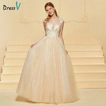 Dress Wedding Dress Panjang Scoop Neck Cap Sleeves Tulle Sebuah Line Lace Plus Ukuran Elegant 2018 Custom Wedding Gown Wedding Dress
