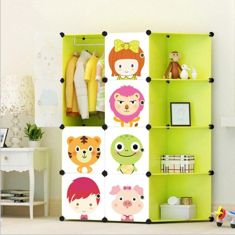 2019 Children's Cartoon DIY Wardrobe Eco-friendly Resin Lockers Toys Storage Assembly Lockers Wardrobes Cabinets Free Shipping