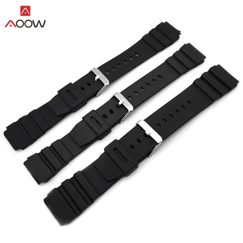 AOOW Rubber Watchbands 18 20 22mm Men Black Sport Diving Silicone Watch Strap Band Metal Buckle For G-shock Watch Accessories