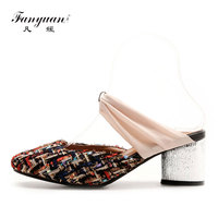 Fanyuan Spring/Summer High Heeled women Mule Slippers fashion Mixed color Strap Heels Slide Sandals ladies Party Dress Slippers