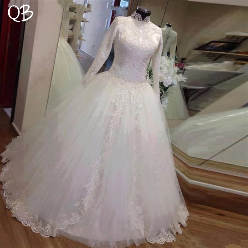 Ball Gown High Neck Long Sleeve Tulle Lace Beading Appliques Elegant Muslim Wedding Dresses Vestidos de Novia Custom Made DW229
