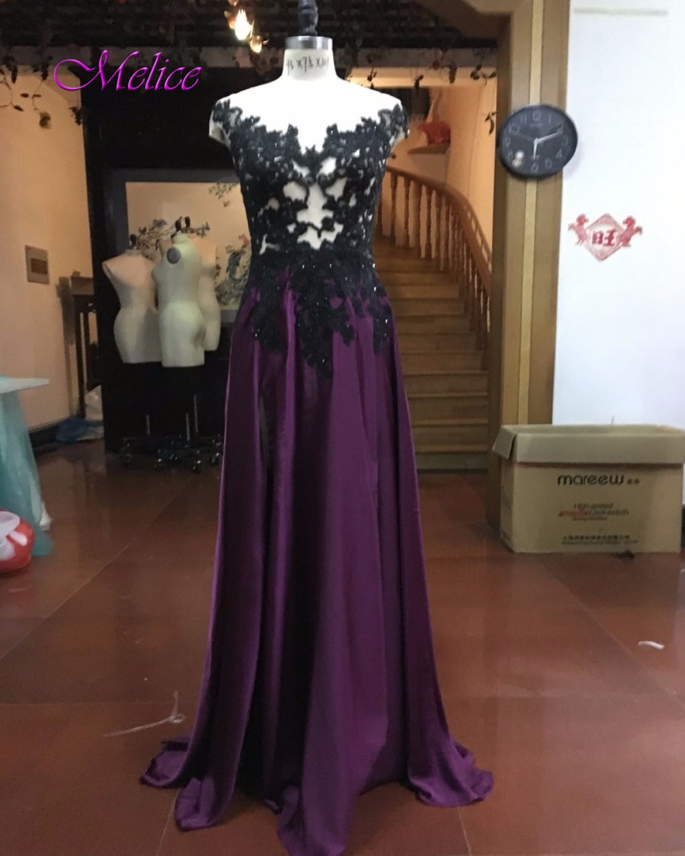 Melice New Arrival Scoop Neckline Burgundy   Prom     Dresses   2019 Delicate Appliques Beaded A-l ine Formal Party Gown Robe De Soiree
