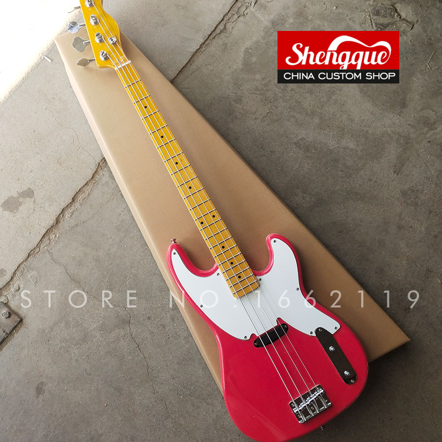 shengque factory custom tele jazz bass 4 strings electric bass guitar red color musical. Black Bedroom Furniture Sets. Home Design Ideas