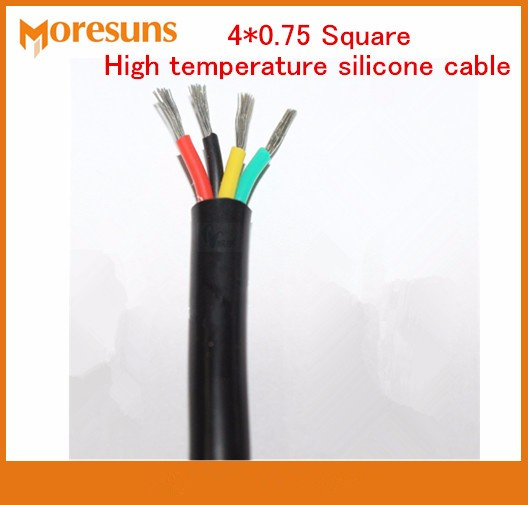 Free Ship15M/lot 4*0.75 Square High Temperature Silicone Cable/4Core YGC High Temperature Resistant Silicone Soft Wire And Cable