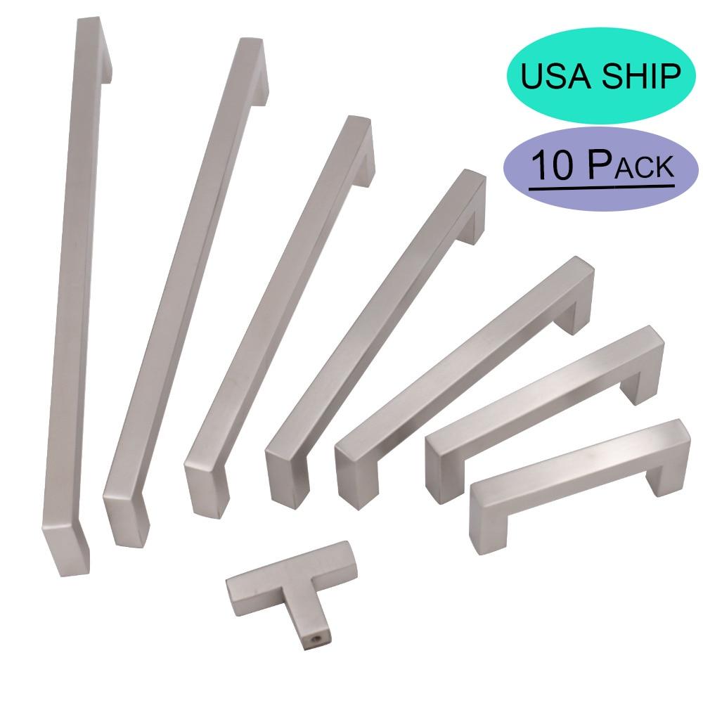 Goldenwarm Brushed Nickel Cabinet Hardware 10 Pack Door S Stainless Steel Cupboard Handles Modern Drawer