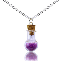 Small Wishing Bottle Pendant Necklace, Glass Crystal Pendant Necklaces, Cute Girl's Candy Color Necklace Jewelry