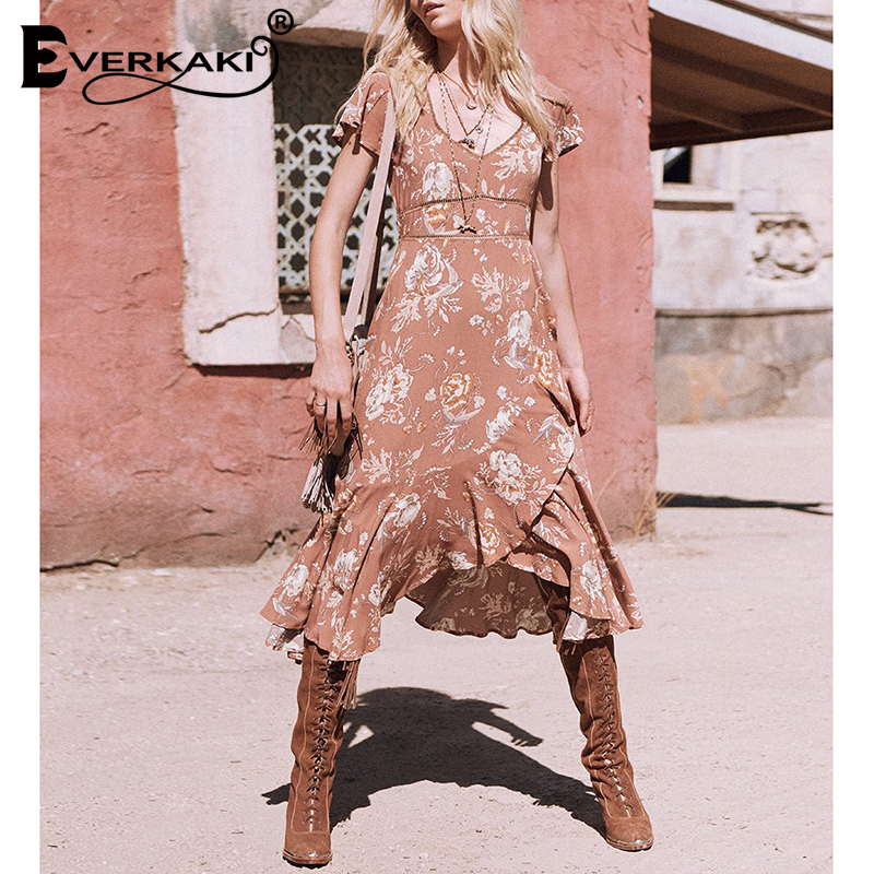 50ce1cd988a Detail Feedback Questions about Everkaki Gypsy Floral Print Cotton Dress  Women V Neck Lace Bohemian Midi Tunic Dress Boho Style Women Clothes 2018  Spell ...
