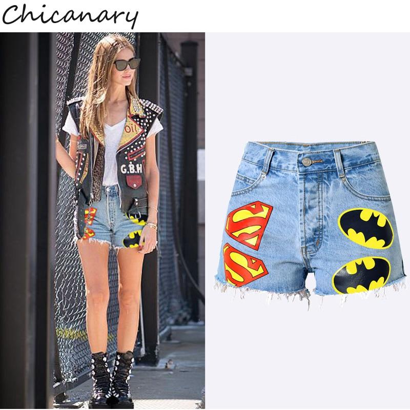 Europe Hip Hop Graffiti Cartoon High Waist Buttons Fly Raw Hem Denim Jeans Shorts Women Summer