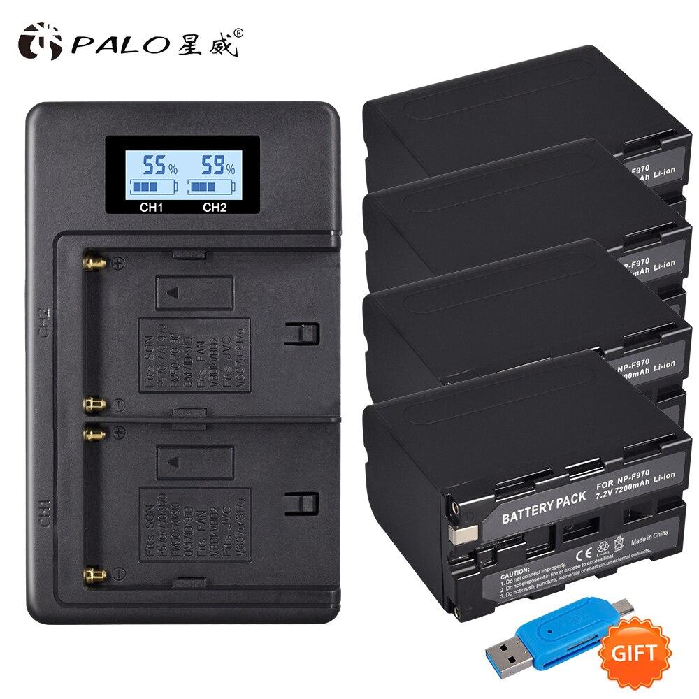 PALO 4 pièces 7200 mah NP-F960 NP-F970 NPF960 NP F970 Batterie Pour Appareil Photo Numérique Sony F970 NP-F970 NP-F960 F960 Bateria avec Chargeur