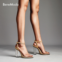 transparent square chunky heel ankle buckle new summer gold high fashion sexy women sandal