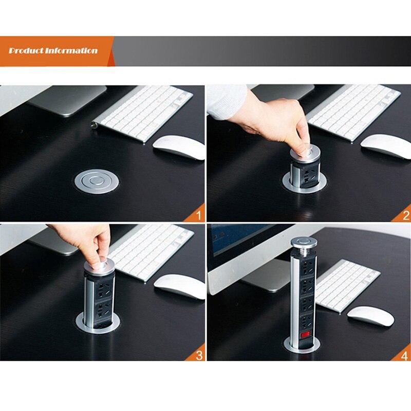 Pull Pop Up Électrique 3 Prise 2 USB Cuisine Rétractable Bureau Metting Bureau Table Socket CLH @ 8