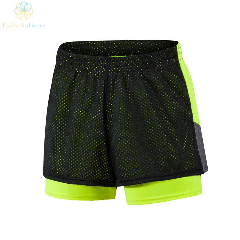 2016 Women Double Layer Fabric Dissipate Heat Sports Shorts font b Fitness b font Running Gym