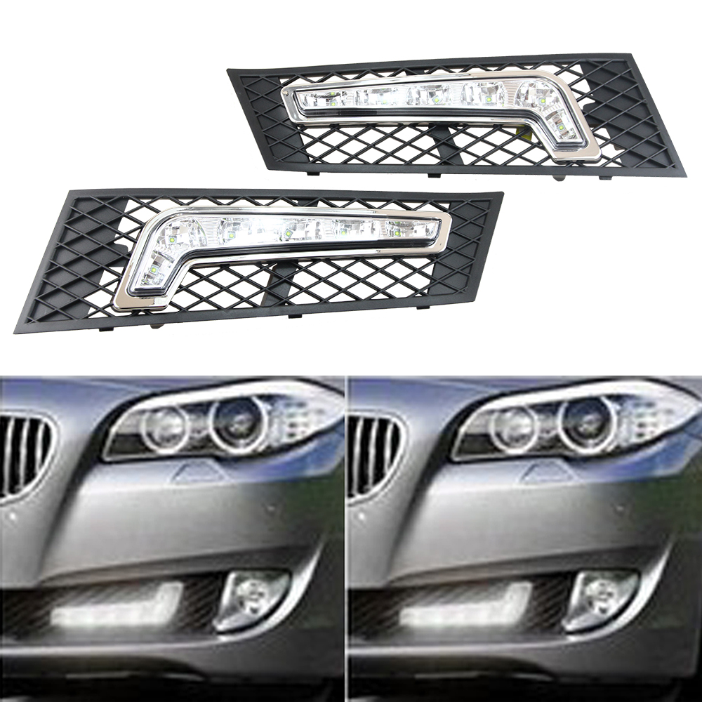 Dedicated Daytime Running Lights for BMW  F10 Sedan, F11 Touring Daylight Car LED DRL Daytime Running Lights Fog head Lamp cover led drl daytime running fog lights with pole for bmw 5 series f10 10 m tech m technik daylight fog led head lamp