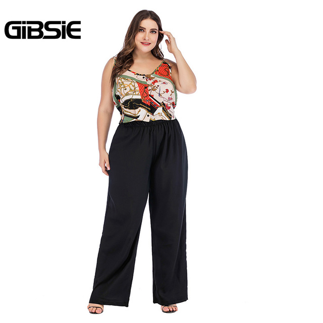 GIBSIE Plus Size Summer 2 Piece Set Mixed Print V Neck Tie Cami Top and Wide Leg Pants Sets Casual Women Two Piece Outfits 3
