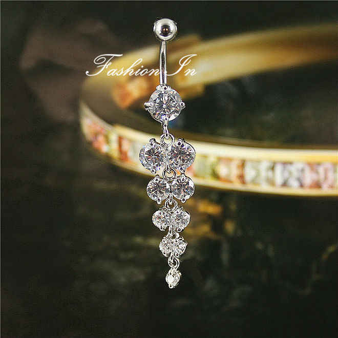 G23titan Uroczy Rhonestone Winogron Wisiorek Belly Piercing - Modna biżuteria - Zdjęcie 2