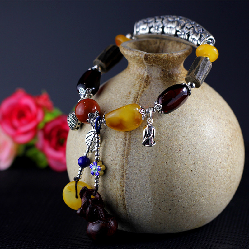 2018 Women Bracelet Kehribar Character Product Fashion Lady S925 Pure Jewelry Diy Natural Colorful Gem Bracelet Hand String