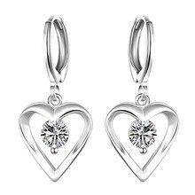 Pendientes de Gota Del Corazón de plata con AAA Circón Mujer Moda Joyería Día de San Valentín Regalos de Buena Calidad Precio Bajo Brincos feminino