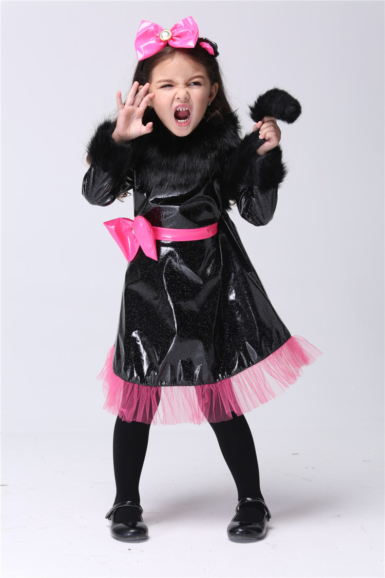 excellent girls halloween carnival party cat cosplay costume black leather bowknot dress kids cute outfit send - Cat Outfit For Halloween