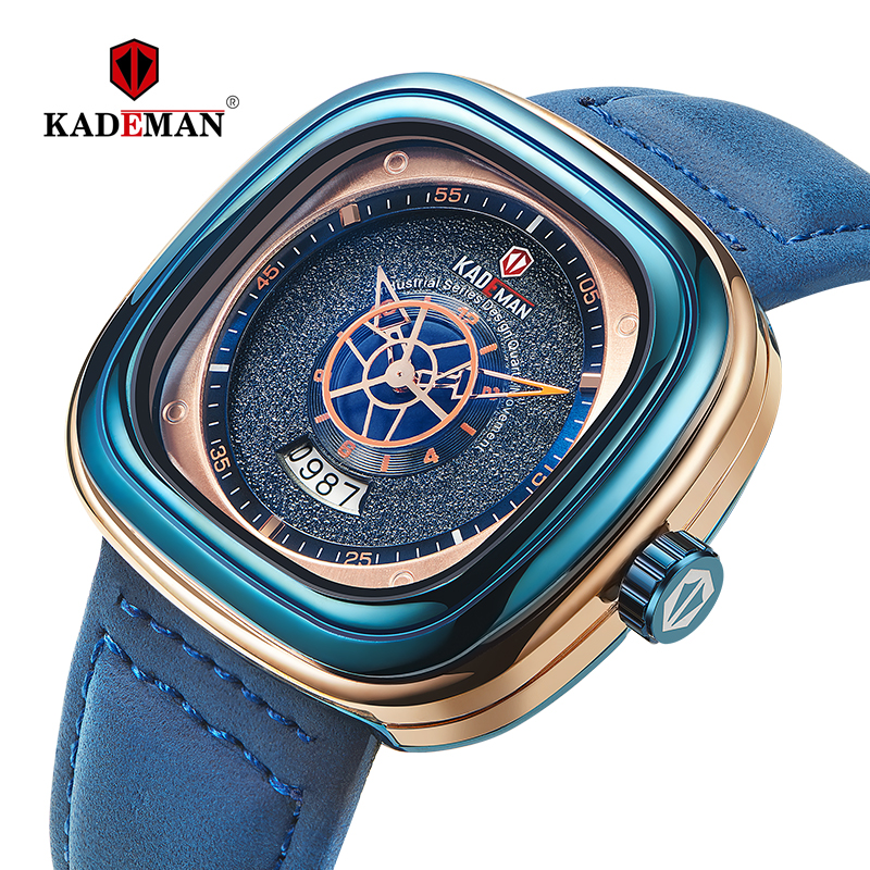 KADEMAN Men Watch Square Design Sports Watch 3TAM Fashion Leather Wristwatches NEW Business Casual Quartz Relogio Masculino 9030